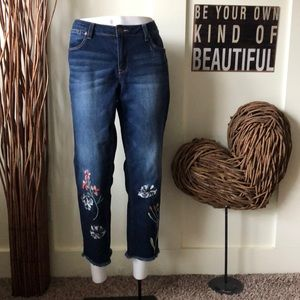 Max Jeans Frayed hem floral embroidered jeans